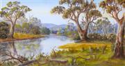 Sale 8972A - Lot 5044 - John F Norton (1875 - 1940) - River with Gums 24 x 45 cm