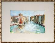 Sale 9028 - Lot 2036 - Bresciani - Venetian Canal 19 x 27.5 cm (frame: 36 x 45 x 2 cm)