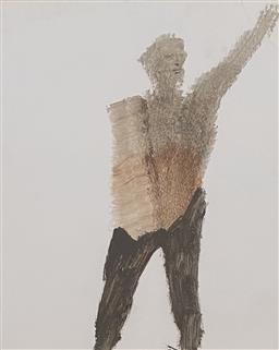Sale 9123J - Lot 29 - Sidney Nolan Explorer with Arm raised ripolin on paper 30x25cm