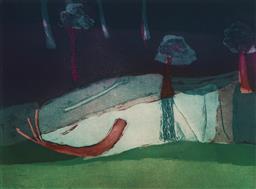 Sale 9170A - Lot 5013 - IDRIS MURPHY (1949 - ) Untitled (Landscape) aquatint, ed. 10/20 33.5 x 45 cm (frame: 55 x 67 x 4 cm) signed lower right