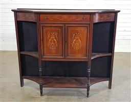 Sale 9196 - Lot 1053 - Victorian Inlaid Rosewood Cabinet, the frieze drawer & two panel doors with festoons & arabesques, flanked by concave sides with ope...
