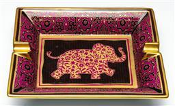 Sale 9211 - Lot 78 - An Hermes Elephant Themed Ashtray With Gilt Rim (16cm x 20cm)