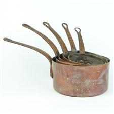 Sale 8351A - Lot 45 - Set of Five Graduated French Copper Saucepans diameter 14-22cm depth 8-11cm(approx weight 6kg)