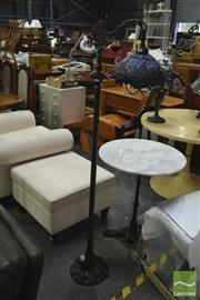Sale 8398 - Lot 1092 - Leadlight Standard Lamp w Hanging Shades
