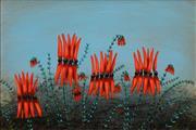 Sale 8504 - Lot 510 - Kym Hart (1965 - ) - Sturt Desert Peas, Broken Hill 29 x 43.5cm