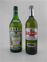 Sale 8532W - Lot 94 - 2x Apertif - 1x Pernod (700ml), 1x Marko Vermouth (1000ml)