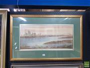 Sale 8552 - Lot 2007 - Andrew Wroz - Sydney Harbour at Dusk 25 x 58cm