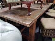 Sale 8601 - Lot 1409 - Large Rustic Pine Rectangular Dining Table