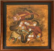 Sale 8995H - Lot 97 - Leanne Reid Wanjidari, Wadja Wadja Tribe, Acrylic on paper. 75cm x 57cm