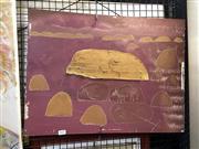 Sale 8906 - Lot 2035 - Artist Unknown Desert Landscape c1960s acrylic and bark on board (AF),
