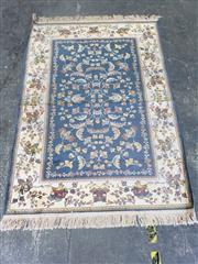 Sale 9034 - Lot 1047 - Turkish Made Possibly Silk Blend Green & Cream Tone Carpet Depicting Flora & Fauna (100 x 143cm)