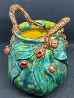 Sale 9093A - Lot 5076 - David Lyons - Harcourt Pottery vase (with branch handles, gum nuts and leaves) h. 19cm, d. 10cm