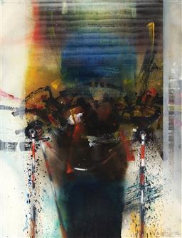 Sale 9133 - Lot 545 - Thomas Gleghorn (1925 - ) Badmadi Fishtrap, Wildman Creek Kakadoo, VIII mixed media on paper 76 x 67 cm (frame: 100 x 79 x 3 cm) sig...