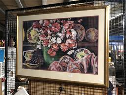 Sale 9139 - Lot 2034 - D E FACCIN - Still Life - Poppies, Ceramics and Cloth pastel   70 x 91cm, signed lower right