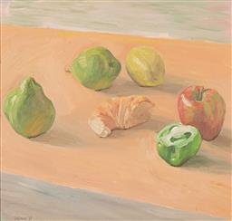 Sale 9212A - Lot 5008 - FRANCIS GIACCO 1955 - ) - Still Life No. 7 (Apple, Capsicum, Pear, Lemon), 1989 42 x 44.5 cm (frame: 64 x 67 x 4 cm)