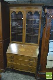 Sale 8390 - Lot 1058 - 1920s Mahogany Bureau Bookcase with 2 astragal doors, marquetry fall front and three drawers (Key in Office).