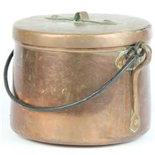 Sale 8351A - Lot 66 - French Copper Swing Handled Lidded Pot diameter 19cm depth 16cmapprox weight 3kg)