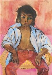 Sale 8526 - Lot 558 - Donald Friend (1915 -1989) - Youth (Bali) 75. 5 x 53.5cm