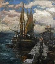 Sale 8692 - Lot 598 - Artist Unknown - Port Scene 54 x 64cm