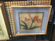 Sale 8720 - Lot 2076 - Artist Unknown (Japanese school) - Lily, gouache on silk, 38 x 41cm (frame size), signed lower left