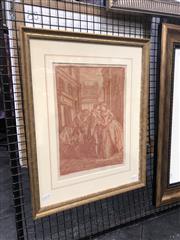 Sale 8833 - Lot 2047 - C18th Courting Scene, conte on paper, 57 x 44.5cm