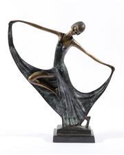 Sale 9010 - Lot 35 - An Art Deco Bronze Figure of a Dancer (H:34cm)