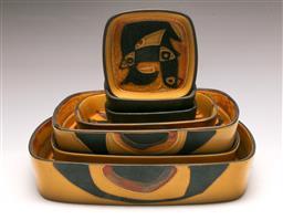 Sale 9131 - Lot 22 - A suite of Royal Copenhagen graduating ceramic dishes (largest 26cm, smallest 11cm)