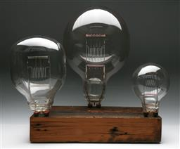 Sale 9148 - Lot 49 - Vintage stage lights on rustic timber display board (h58 x w50 x d30cm)