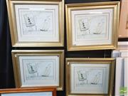 Sale 8449 - Lot 2039 - 5 Framed Nautical Scenes in Gold Coloured Frame; same image