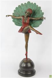 Sale 8594 - Lot 37 - Art Deco Style Bronze Peacock Dancer After M. Pellier