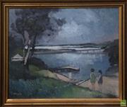 Sale 8600 - Lot 2031A - K Willies Waiting for the Ferry, oil on board, 23.5 x 29cm, signed lower left