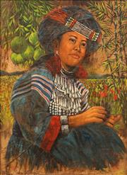 Sale 8678 - Lot 2026 - Artist Unknown - Portrait of a Lisu Woman 72.5 x 52.5cm