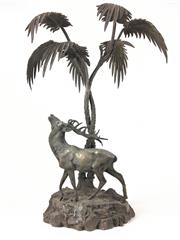 Sale 8995H - Lot 99 - A sliver plate stag under palm tree, height 44cm