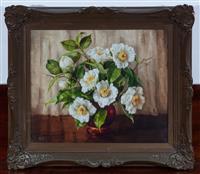 Sale 8963H - Lot 93 - Evelyn Baxter, Magnolias in Vase, oil on canvas, SLL, 35cm x 42cm