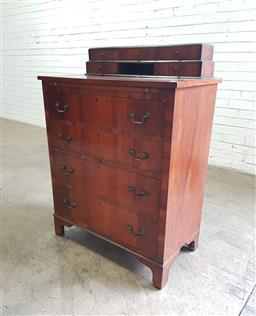 Sale 9142 - Lot 1032 - Unusual Early 20th Century Walnut Chest of Drawers, with stepped superstructure of five small drawers and central niche, above a sli...