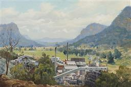Sale 9195 - Lot 582 - JOHN ALLCOT (1888 - 1973) Shale Oil Mine, Glen Davis, NSW, 1941 oil on canvas laid on board 29.5 x 44.5 cm (frame: 58 x 73 x 4 cm) s...
