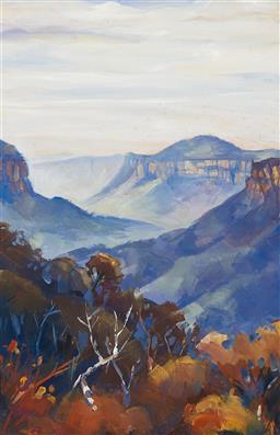 Sale 9193A - Lot 5052 - AUSTRALIAN SCHOOL Blue Mountains Lookout oil on panel 43.5 x 29 cm (frame: 57 x 42 x 4 cm) unsigned