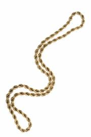 Sale 8333 - Lot 359 - A GOLD ROPE TWIST CHAIN; tests for 14ct, length 74cm. wt. 64.3g.