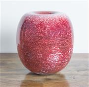 Sale 8489A - Lot 41 - A Col Levy art pottery globular vase with sunken neck in copper red crackle glaze, H 24cm, ex David Jones
