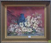 Sale 8600 - Lot 2017 - Josephine Jenyns Azaleas, 1974, oil on canvas board, 34.5 x 45cm, signed and dated lower right