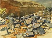 Sale 8755A - Lot 5070 - Charles (Frank) Norton (1916 - 1983) - Wittenoom, The Hamersley Range Pilbara WA 29 x 39cm