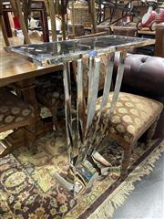 Sale 8896 - Lot 1013 - Chrome Pedestal Stand with Black Glass Top