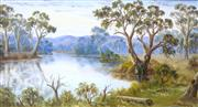 Sale 8972A - Lot 5045 - John F Norton (1875 - 1940) - Bend in River with Gums 24 x 45 cm