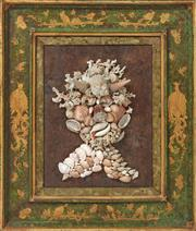Sale 9087H - Lot 28 - A 19th century shell picture in a superb Antique frame. 70cm height, 58m width