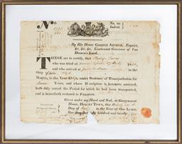 Sale 9130E - Lot 1 - An 1820 press framed vellum certificate of free pardon for Philip Lewis,  by his Honor George Arthur, esq, Lieutenant Governor of Van..