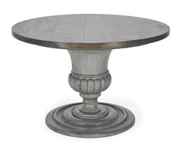 Sale 9140F - Lot 3 - Hardy Interiors original design. Iron brown & slate grey round dining table made from fruitwood and MDF. Dimensions: W120 x D120 x H...