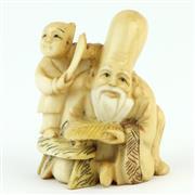 Sale 8356 - Lot 75 - Meiji Ivory Carved Netsuke of Fukurokuju