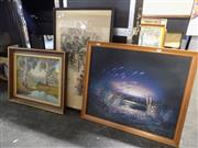 Sale 8422T - Lot 2055 - Group of (3) Assorted Artworks Including Original Landscape Paintings and Chinese Watercolour