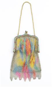 Sale 8541A - Lot 44 - An antique multi coloured mesh purse