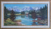 Sale 8593A - Lot 65 - Artist Unknown - Austrian Alpine Scene 24 x 49cm
